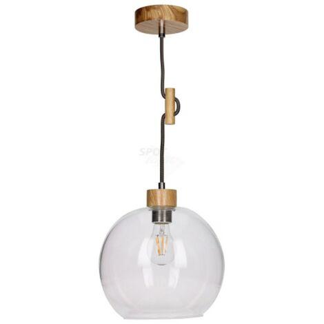 Paris Prix - Lampe Suspension Bois svéa I 100cm Chêne & Anthracite