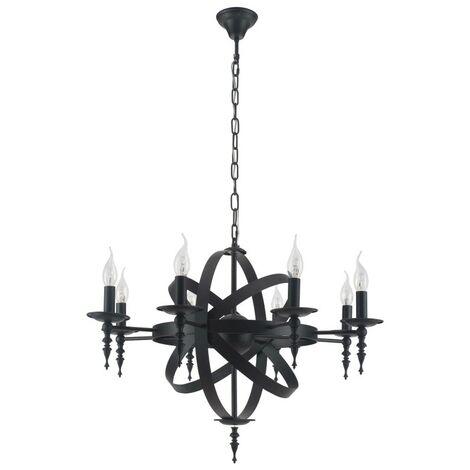Paris Prix - Lampe Suspension Moderne baroque 55cm Noir
