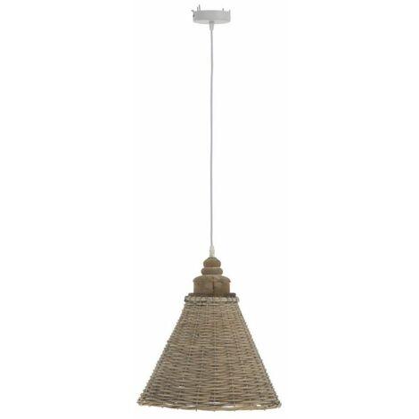 Paris Prix - Lampe Suspension Rotin conique 112cm Naturel