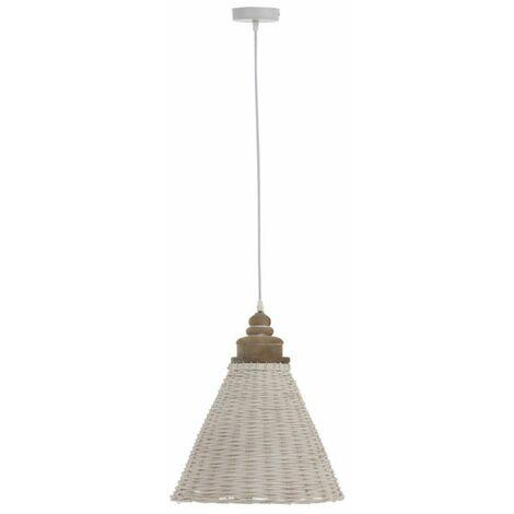Paris Prix - Lampe Suspension Rotin conique 42cm Blanc