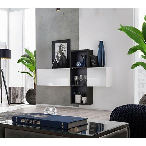 Paris Prix - Meuble De Rangement Mural blox I 140cm Blanc & Noir