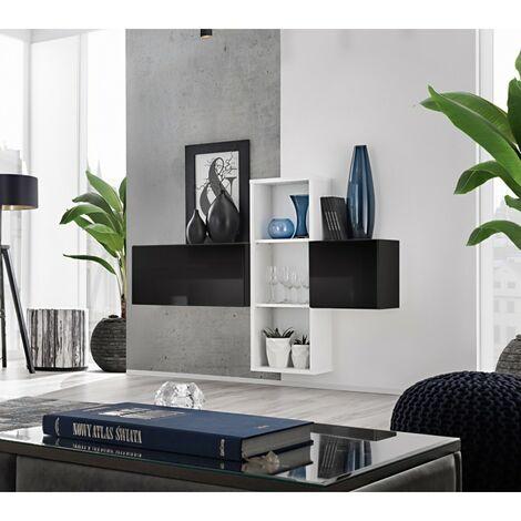 Paris Prix - Meuble De Rangement Mural blox I 140cm Noir & Blanc