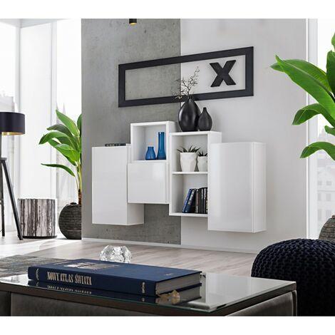 Paris Prix - Meuble De Rangement Mural blox Iii 140cm Blanc