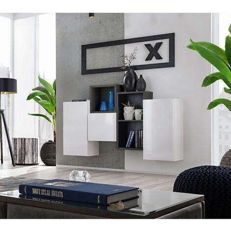 Paris Prix - Meuble De Rangement Mural blox Iii 140cm Blanc & Noir