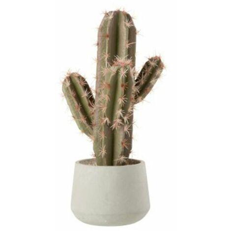 Paris Prix - Plante Artificielle cactus En Pot 47cm Vert & Blanc