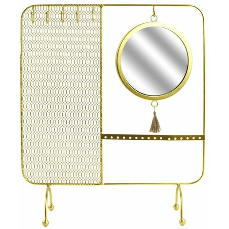 Paris Prix - Porte-bijoux & Miroir Design filaire 35cm Or
