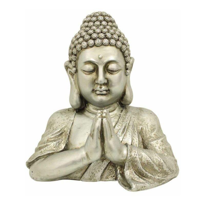 Paris Prix - Statue Déco Bouddha buste 40cm Argent