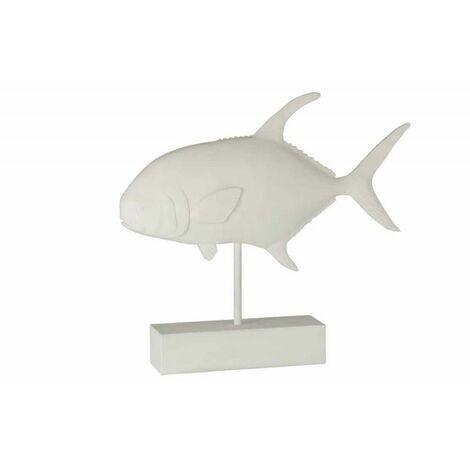 Paris Prix - Statue Déco En Résine poisson 51cm Blanc