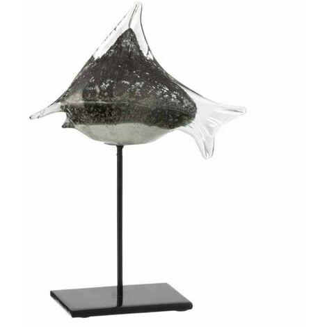 Paris Prix - Statue Déco En Verre poisson 30cm Gris & Noir