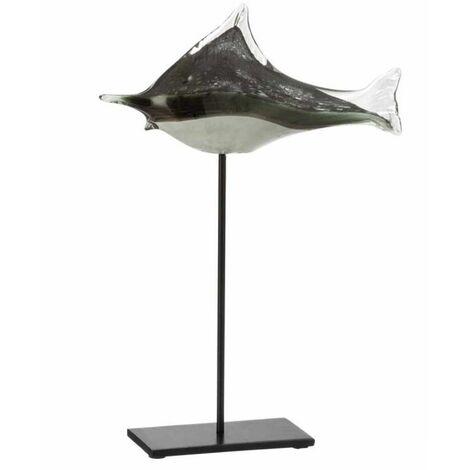 Paris Prix - Statue Déco En Verre poisson 41cm Gris & Noir