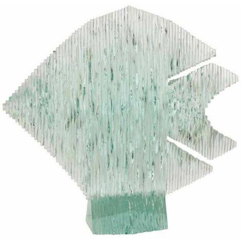 Paris Prix - Statue Déco En Verre poisson Sur Pied 35cm Bleu