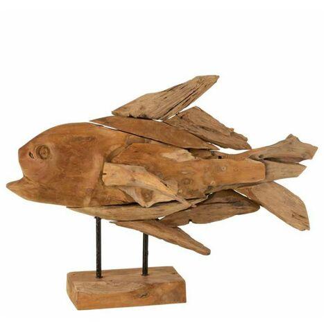 Paris Prix - Statue Déco poisson Morceaux 60cm Naturel