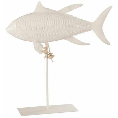 Paris Prix - Statue Déco poisson Sur Pied 38cm Blanc