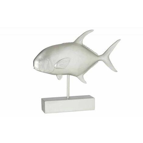 Paris Prix - Statue Déco poisson Sur Pied 51cm Argent