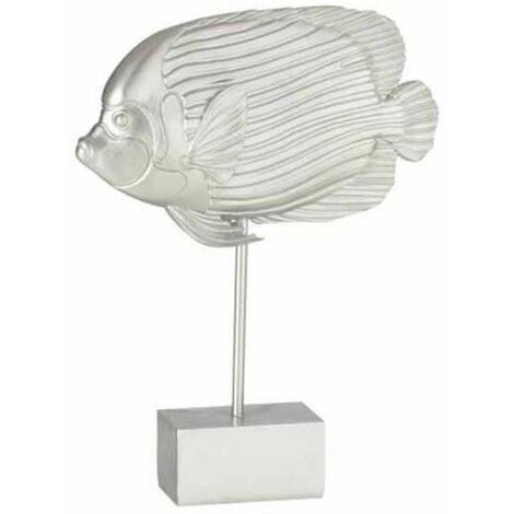 Paris Prix - Statue Déco Sur Pied poisson 32cm Argent