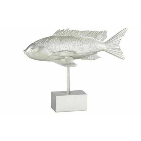 Paris Prix - Statue Déco Sur Pied poisson Long 33cm Argent