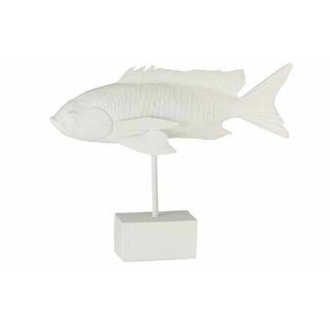 Paris Prix - Statue Déco Sur Pied poisson Long 33cm Blanc