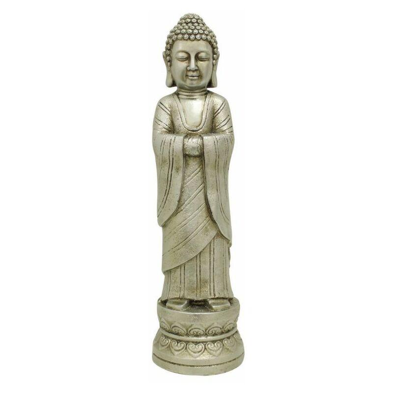 Paris Prix - Statuette Déco Bouddha debout 68cm Argent