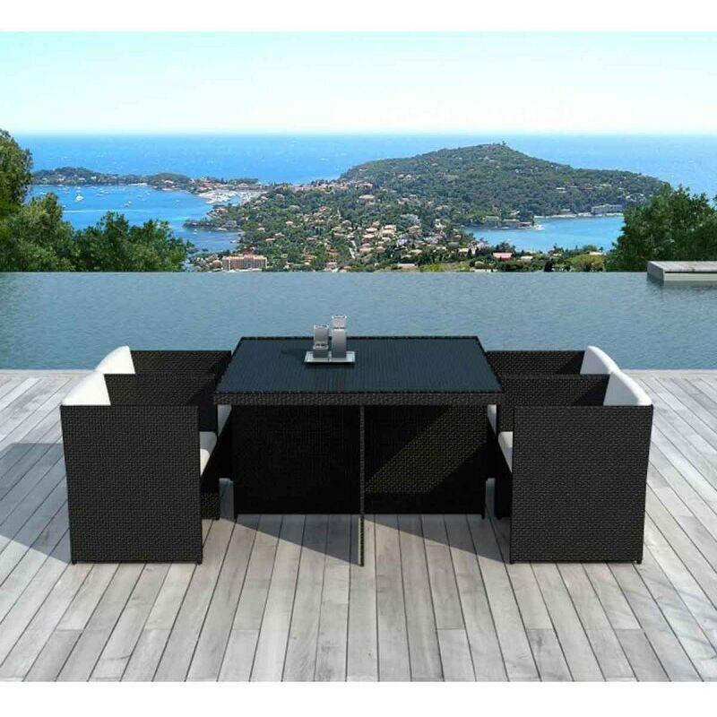Table & 4 Fauteuils De Jardin rocha 115cm Noir & écru - Paris Prix