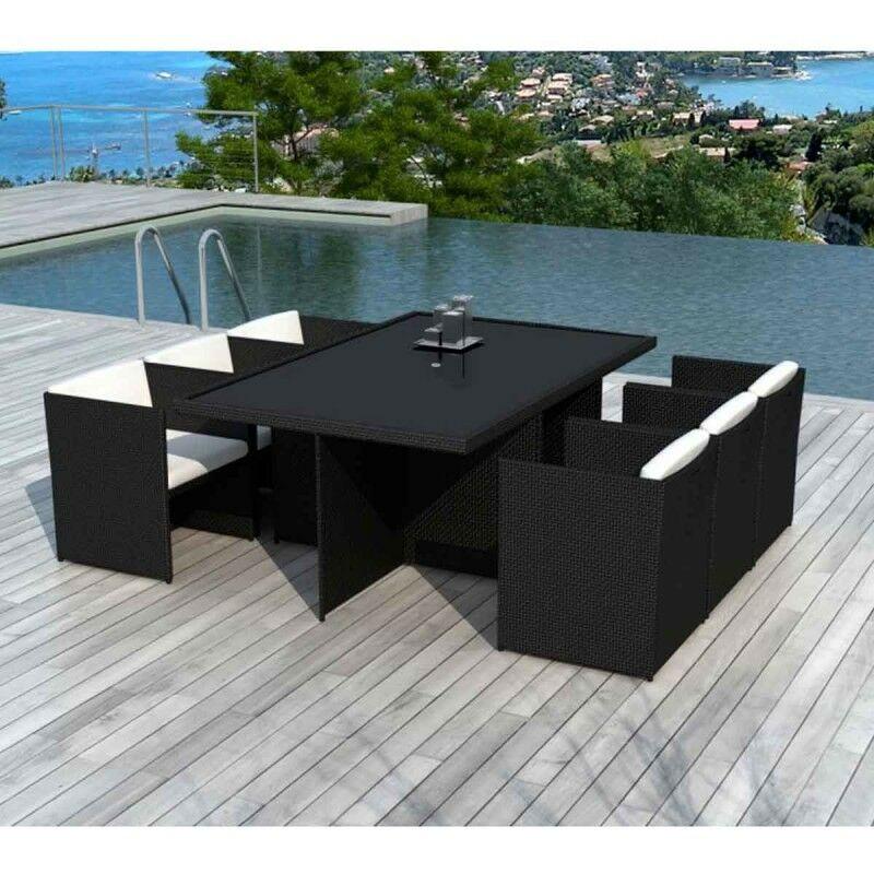 Table & 6 Fauteuils De Jardin artigas 115cm Noir & écru - Paris Prix
