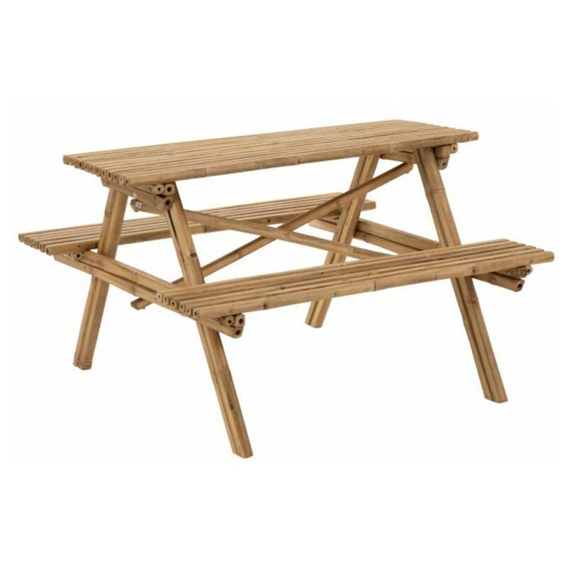 Table De Jardin & 2 Bancs paradis 134cm Naturel - Paris Prix