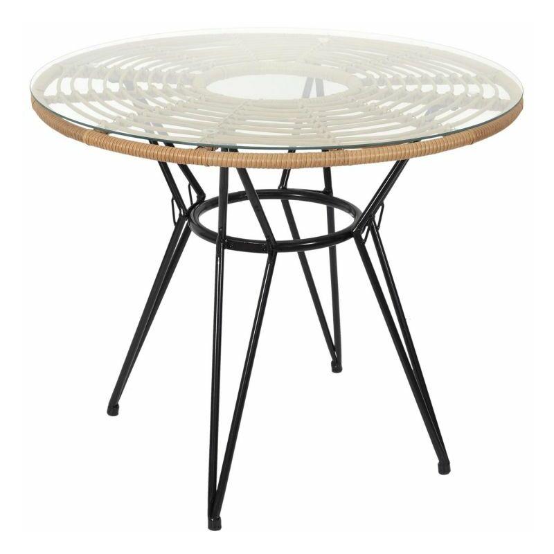 Table De Jardin Ronde surabaya 90cm Noir - Paris Prix