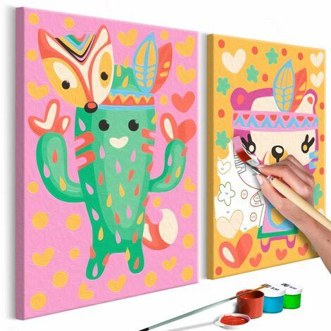 Paris Prix - Tableau à Peindre Soi-même cactus & Ours 23x33cm