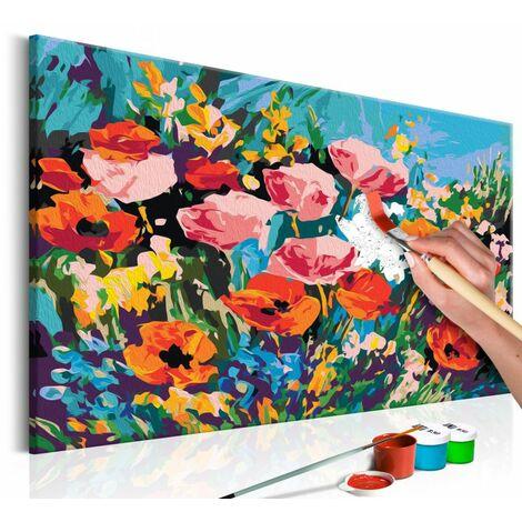 Paris Prix - Tableau à Peindre Soi-même fleurs De Champs Colorées 40x60cm