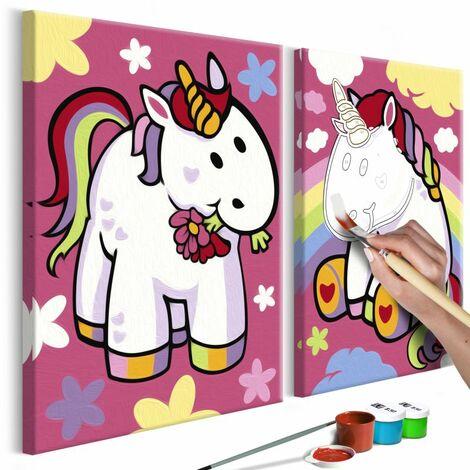 Paris Prix - Tableau à Peindre Soi-même licornes 23x33cm