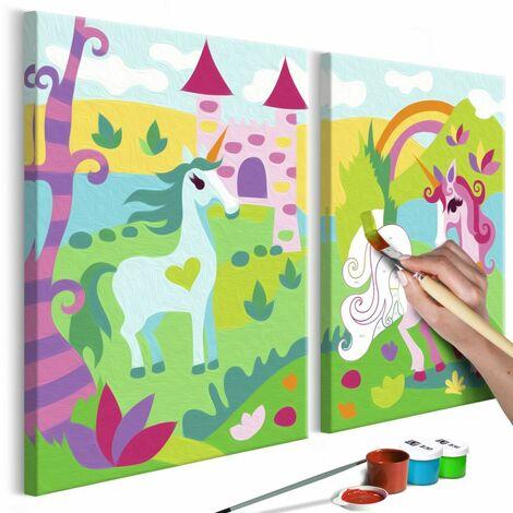Paris Prix - Tableau à Peindre Soi-même licornes Féeriques 23x33cm