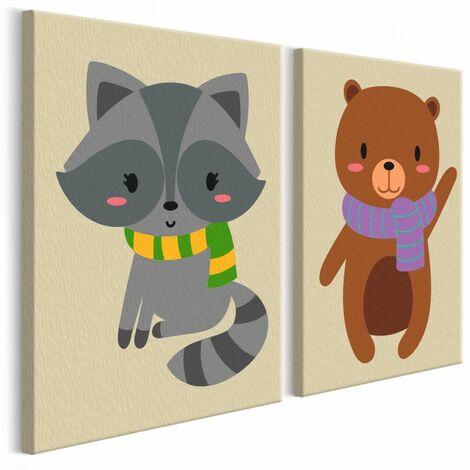 Paris Prix - Tableau à Peindre Soi-même raton Laveur & Ours 23x33cm