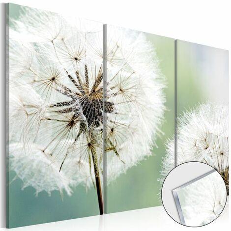 Paris Prix - Tableau Sur Verre Acrylique fluffy Dandelions 80 X 120 Cm