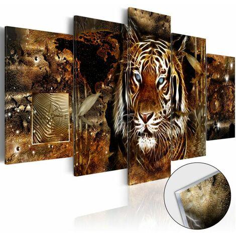 Paris Prix - Tableau Sur Verre Acrylique golden Jungle 100 X 200 Cm