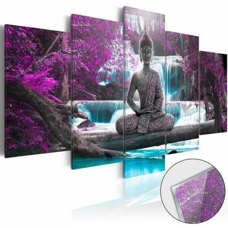Paris Prix - Tableau Sur Verre Acrylique waterfall & Buddha 100 X 200 Cm