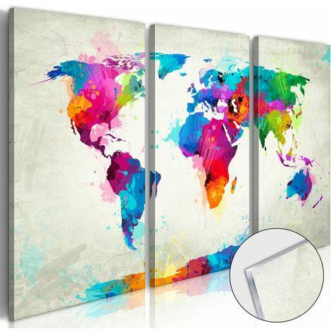 Paris Prix - Tableau Sur Verre Acrylique world Map : An Explosion Of Colours 80 X 120 Cm