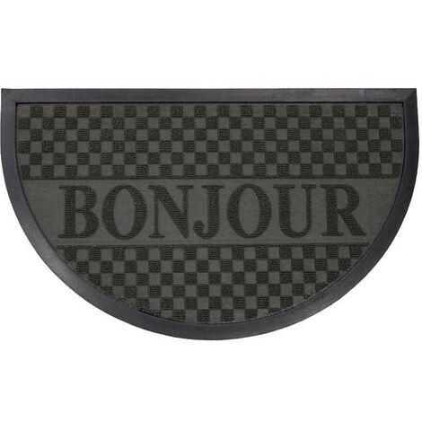 Paris Prix - Tapis D'entrée Demi-lune bonjour 45x75 Cm Noir