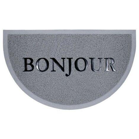 Paris Prix - Tapis D'entrée Demi-lune bonjour 45x75cm Gris