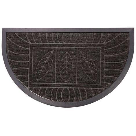 Paris Prix - Tapis D'entrée Demi-lune feuilles 45x75cm Noir