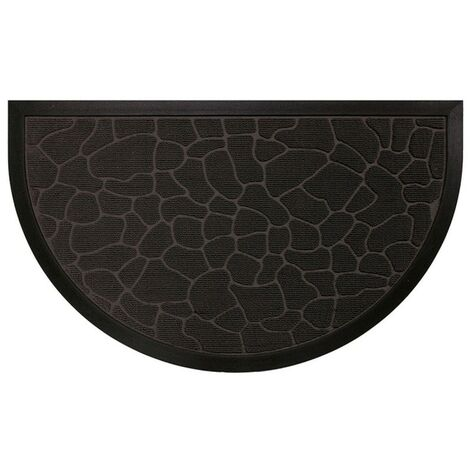Paris Prix - Tapis D'entrée Demi-lune galets 45x75cm Noir