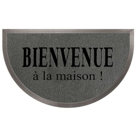 Paris Prix - Tapis D'entrée Demi-lune maison 45x75cm Gris & Noir