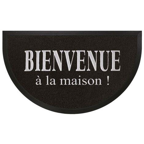 Paris Prix - Tapis D'entrée Demi-lune maison 45x75cm Noir & Gris
