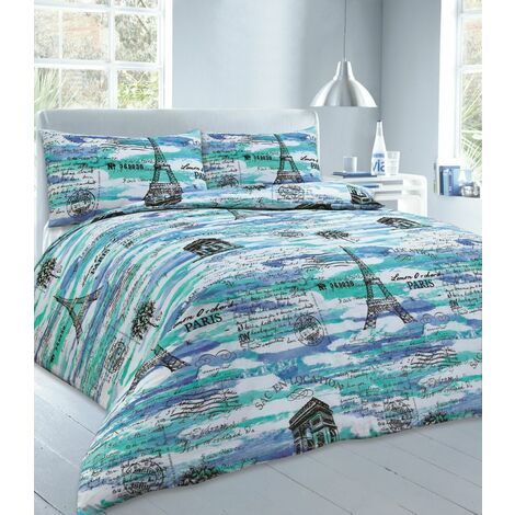 Paris Single Bed Duvet Cover & Matching Pillowcase Bedding Bed Set In Blue