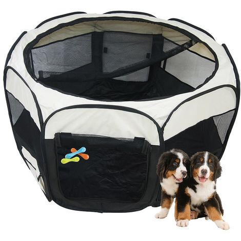 Park for Small Animals, Pet Playpen, Black, Material: PVC-coated polyester