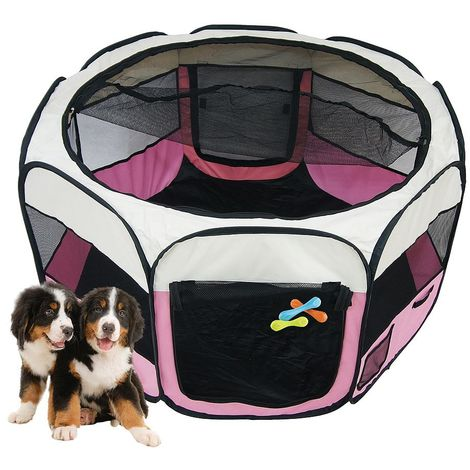 Park for Small Animals, Pet Playpen, Pink, Material: PVC-coated polyester