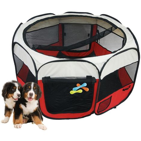 Park for Small Animals, Pet Playpen, Red, Material: PVC-coated polyester