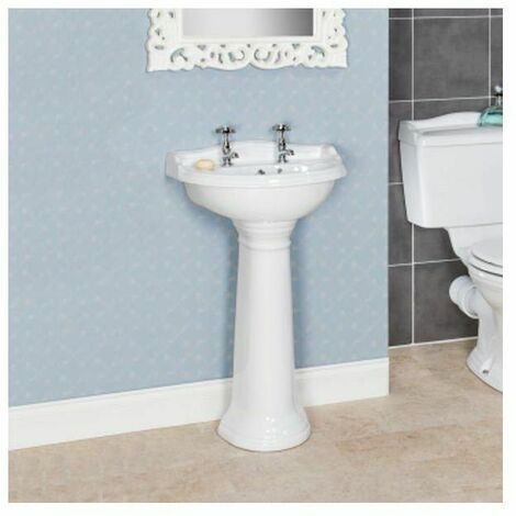 Park Lane Ryther Full Pedestal 500mm 2 Taphole Bathroom Sink