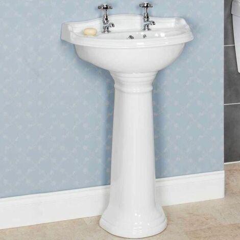 Park Lane Ryther Full Pedestal 600mm 2 Taphole Bathroom Sink