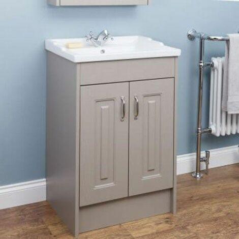 "main image of ""Park Lane Taupe Grey Floor Standing Bathroom Cabinet 600mm Width"""