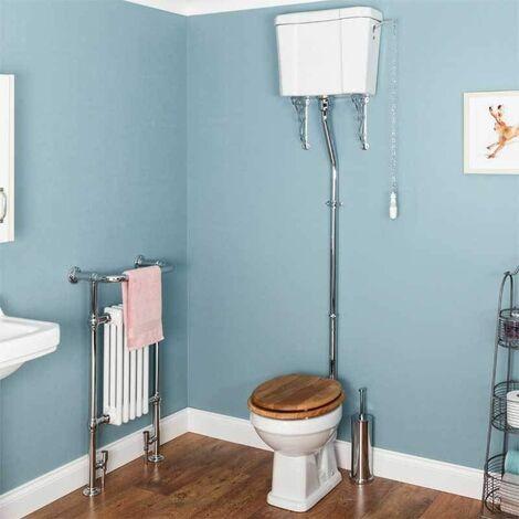 Park Lane Windsor Traditional High Level Toilet & Oak Toilet Seat