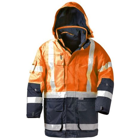 Parka alto visibilidad WALLACE 4 en 1 Talla S, naranja